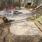 paving stone patio walkway firepit