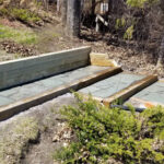 flagstone steps with treated 6x6 lumber