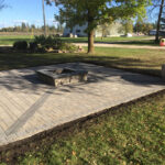 custom square firepit patio